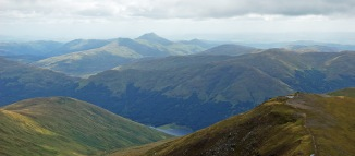 Looking south east from Stob Binnein. Ben Ledi just left of centre in background. It was the last walk I had with my friend Graeme, sadly no longer with us. (2007)