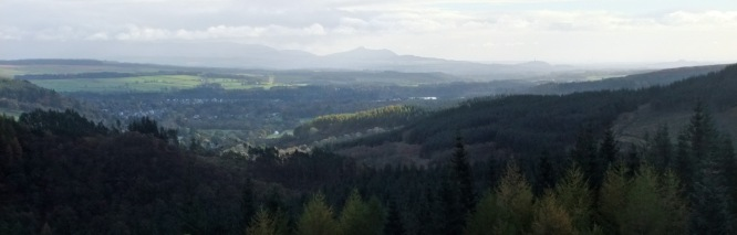 Wish it was a bit clearer. This is the view over to the Ochils with little Dumyat in the centre of the photo.
