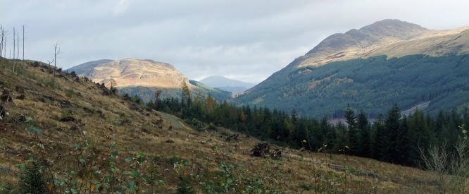 The view north up Glen Ample with the Corbett, Beinn Each, to the right.