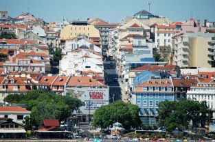 One of the Lisbon's famous hilly streets.